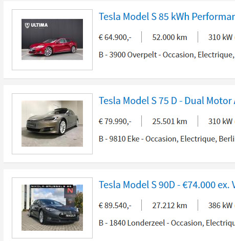 Résultat de recherche sur la Tesla Model S d'occasion